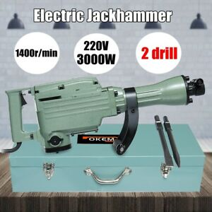 3000w Electric Demolition Jack Hammer Concrete Breaker Drill Chisel Tool Kit