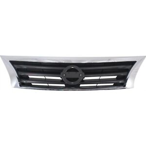 Front Upper Bumper Mounted Grille Black Chrome Surrounding For Nissan Altima