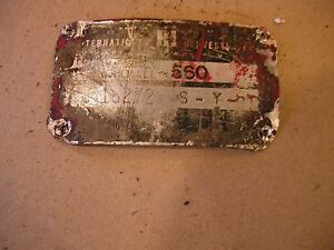1959 Farmall 560 Lp Rowcrop Tractor Original Ih Serial Number Tag 18272 S Y Cc