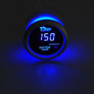 2 52mm Black Car Auto Digital Blue Led Water Temp Temperature Led Gauge Kit