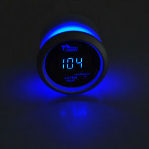 2 52mm Black Car Auto Digital Blue Led Water Temp Fahrenheit F Led Gauge Kit