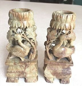 Antique Asian Delicately Carved Pair Of Matching Candlesticks In Soapstone 5 In
