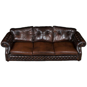 English Vintage Brown Tufted Leather Very Large Chesterfield Sofa Couch Huge Fs