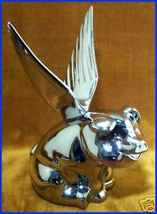 Winged Flying Hog Pig Chrome Metal Hood Ornament New