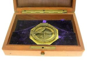 18th C Continental Octagonal Brass Sundial Astrolabe 2 1 8 Nice