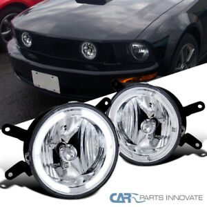 For Ford 05 09 Mustang Gt Clear Lens Halo Fog Lights Driving Bumper Lamps Pair