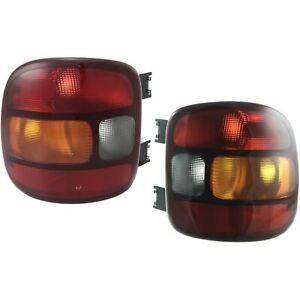 Halogen Tail Light Set For 1999 03 Chevy Silverado 1500 To 11 01 Ambr Clr Rd 2pc