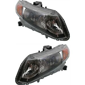 Headlight Set For 2012 Honda Civic Hybrid Model Left And Right With Bulb 2pc