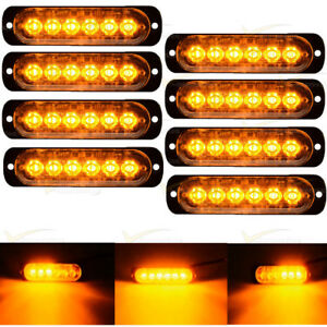 8x Emergency 6 Led Strobe Light Amber Flash Flashing Warning Dc12v 24v Tow Truck