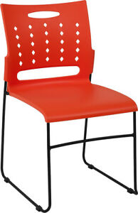 Lot Of 5 Orange Office Furniture Stack Chairs Air Vent Back With Sled Base