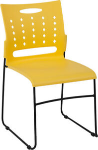 Lot Of 5 Yellow Office Furniture Stack Chairs Air Vent Back With Sled Base