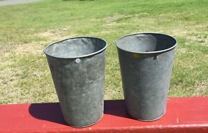 2 Old Galvanized Maple Syrup Sap Buckets Tapered