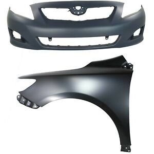 Bumper Cover Kit For 2009 2010 Toyota Corolla Front 2 Pieces