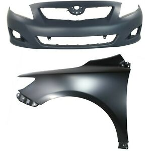 Bumper Cover Kit For 2009 2010 Toyota Corolla Front 2 Pieces Fits 2010 Toyota Corolla