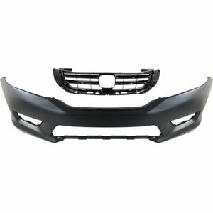 Bumper Cover Kit For 2013 2015 Honda Accord Front 2pc Capa Primed With Grille