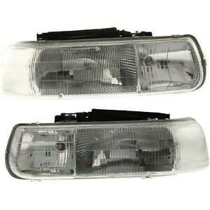 Halogen Headlight Set For 1999 2002 Chevrolet Silverado 1500 W bulb s Pair Capa