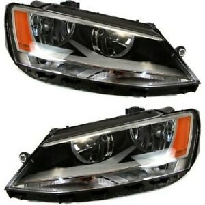 Headlight Set For 2011 2018 Volkswagen Jetta Left And Right With Bulb Capa 2pc
