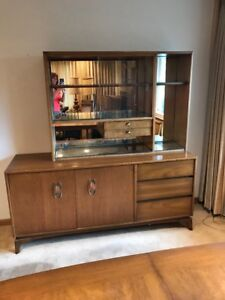 Mid Century Modern China Cabinet 2 Piece Hutch Glass Doors Mirrored Dining Room
