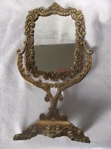 Old Antique Brass Frame Free Standing Mirror 16 Tall