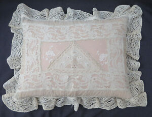 Antique French Normandy Embroidered Net Lace Feather Boudoir Bridal Pillow 18