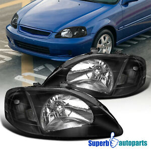 For 1999 2000 Honda Civic Jdm Headlights Head Lamps Black W Clear Reflector