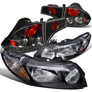 For 2006 2011 Honda Civic 4dr Sedan Diamond Headlights tail Brake Lights Black