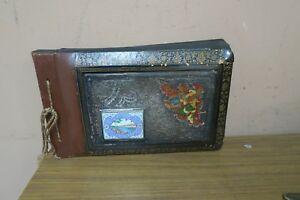 Antique Qajar Lacquer Papier Mache Photo Album Miniature Persian Silver Enamel