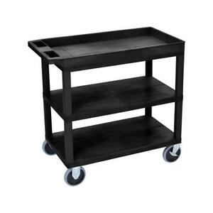 Luxor Ec122 32x18 Cart With 2x Flat 1x Tub Shelves And Hd Caster Black