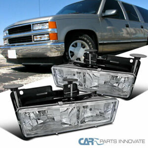 88 98 C10 C k Silverado Sierra 94 99 Suburban Chrome Clear Headlights Lamps Pair