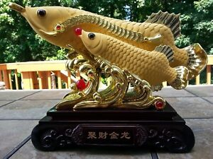 18 5l Chinese Feng Shui Lucky Double Dragon Arowana Fish Statues