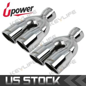 2x Dual Exhaust Polished Stainless 2 5 In 3 Out 9 5 L Exhaust Tip