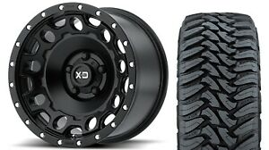 4 20 Xd129 Holeshot Black Wheels Chevy Gmc 1500 33 Toyo Mt Tires Package