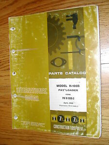 International Hough H 100b Parts Manual Book Catalog Wheel Pay loader Guide List