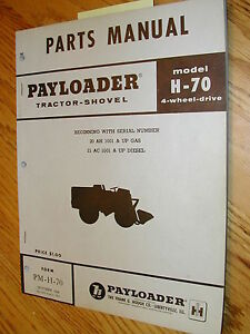 International Hough H 70 Parts Manual Book Catalog Wheel Payloader Shovel Guide