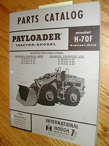 International Hough H 70f Parts Manual Book Catalog Wheel Payloader Shovel Guide
