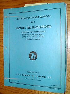 Hough Hh a Parts Manual Book Catalog Wheel Payloader Guide List International
