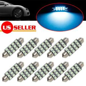 10pcs Ice Blue 12 Smd Led Light 41 42 43mm Festoon Bulbs Car Interior Dome Map