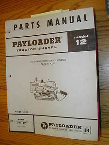 International Hough 12 Parts Manual Book Catalog Pay loader Crawler Tractor List