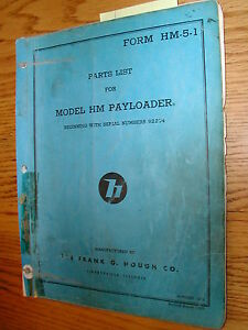 International Hough Hm Parts Manual Book Catalog Wheel Payloader Guide List Hm 5