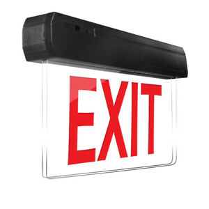Edge Lit Transparent Exit Sign Led Light Red Lettering With Battery Backup