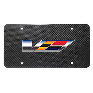 Cadillac V Logo Uv Graphic Real Black Carbon Fiber License Plate For Cts v Ats v