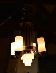 Czech Modernist Art Deco Chandelier Milk Layered Glass Tube Shades