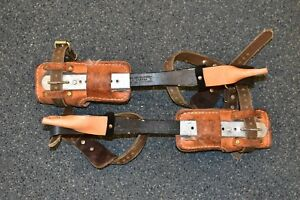 Buckingham Climbing Spikes Spurs W 3122 Pads Pre owned Free Shipping