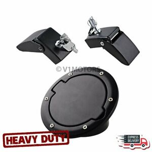 Metal Aluminum Hood Latch Lock W Keys Gas Door Cap Cover For Jeep Wrangler Jk