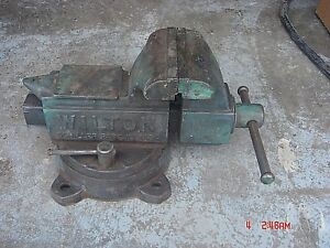 Vintage Rare Wilton 6 Combination Vise W Bench Top Anvil Tool Swivel Base Usa