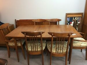 Mid Century Modern Dining Table 6 Chairs With Leaf 2 Captain And 4 Side Chairs