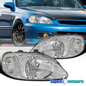For 1999 2000 Honda Civic Ek Ex Lx Si Jdm Headlights Head Lamps Clear