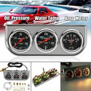 2 52mm Chrome Panel Oil Pressure Water Temperature Amp Triple Gauge 3 In 1 Kit