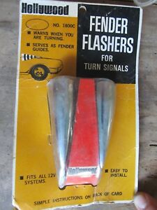 Nos Vintage Hollywood Accessories Chrome Top Of Fender Flashers Turn Signals
