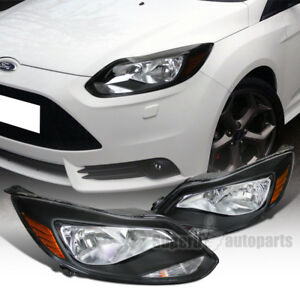 For 2012 2014 Ford Focus Headlights Lamps Black Left right Pair